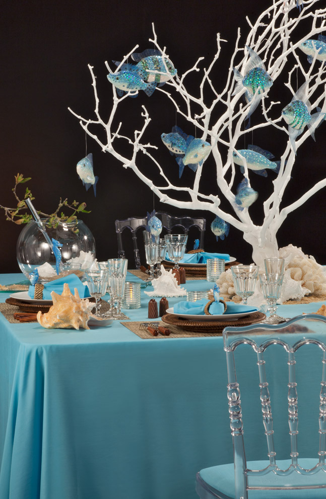 Décoration de table nature bleue