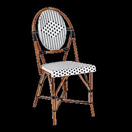 Chaise tressée noire et blanche