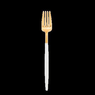 Fourchette de table Cutipol blanc et or