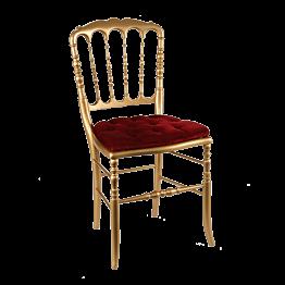 Chaise Napoléon III dorée fixe velours rouge
