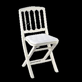Chaise Napoléon III blanche pliante