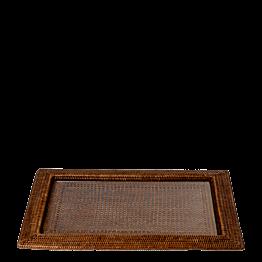 Plateau rectangulaire Louisiane 46 x 63 cm avec plaque en verre