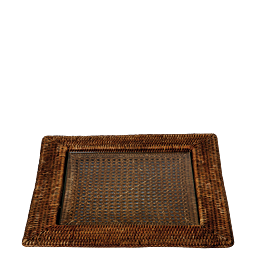 Plateau carré Louisiane 40 x 40 cm avec plaque en verre