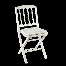 Chaise Napoléon III blanche pliante cannée