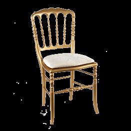 Chaise Napoléon III dorée fixe Gala blanc