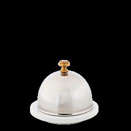 Beurrier porcelaine avec sa cloche en inox Ø 9 cm H 8 cm