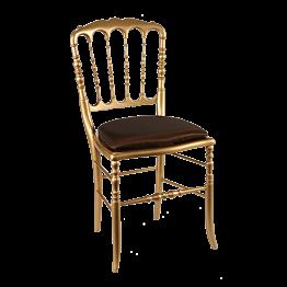 Chaise Napoléon III dorée fixe Toscane chocolat