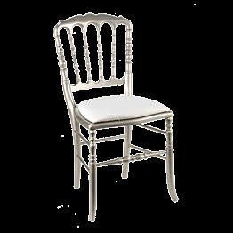Chaise Napoléon III acier fixe chintz blanc