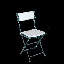 Chaise Trocadéro verte avec assise et dossier blanc