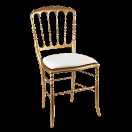 Chaise Napoléon III dorée fixe chintz blanc
