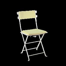 Chaise Trocadéro blanche avec assise et dossier vert pistache