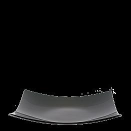 Plat carré fumé noir en verre 29 x 29 cm