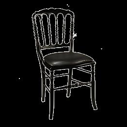 Chaise Napoléon III noire fixe chintz noir