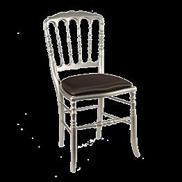 Chaise Napoléon III acier fixe chintz noir