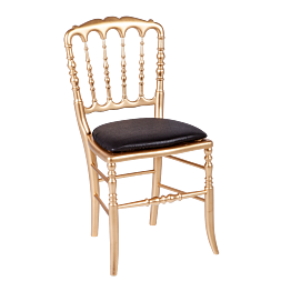 Chaise Napoléon III dorée fixe chintz noir