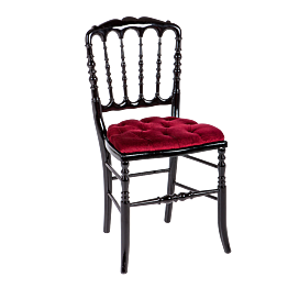 Chaise Napoléon III noire fixe velours rouge