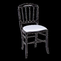 Chaise Napoléon III noire fixe chintz blanc