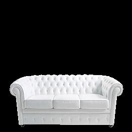 Canapé Chesterfield blanc l 202 P 92 H 76 cm