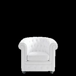 Fauteuil Chesterfield blanc l 82 P 75 H 75 cm
