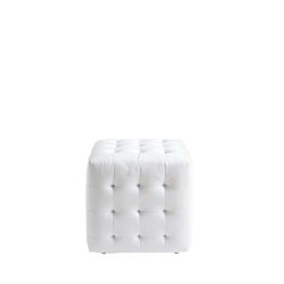 Pouf Chesterfield blanc l 44 P 44 H 42 cm