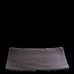 Assiette rectangulaire noire en verre 24 x 32 cm