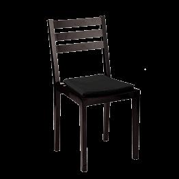 Chaise Pyramide noir mat avec assise velours noir ignifugée