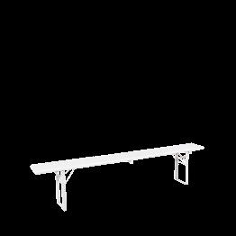 Banc Kermesse blanc 220 X 25 cm H 47 cm