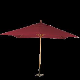 Parasol Louisiane rouge vif 300 x 300 cm + socle acier 30 x 30 cm
