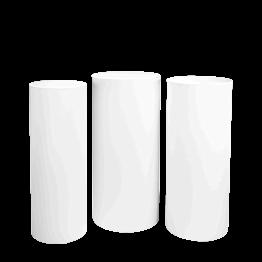 Mange-debout cylindres blancs houssés H 110 - 112 - 114 (par 3)