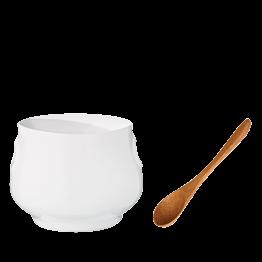 Moutardier blanc Ø 5 cm H 6,5 cm et sa cuillère