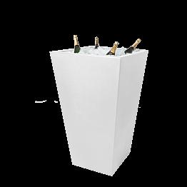 Mange-debout Cône blanc et vasque blanche à champagne