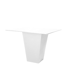 Table haute H 112 cm Cône blanc plateau blanc 140 x 140 cm