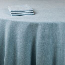 Chemin de table lin bleu 390 x 50 cm