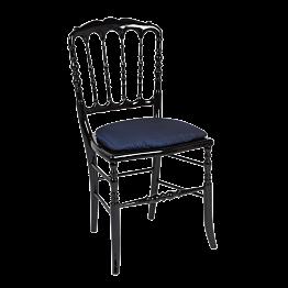 Chaise Napoléon III noire fixe Toscane bleu nuit