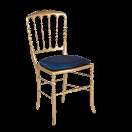 Chaise Napoléon III dorée fixe Toscane bleu nuit