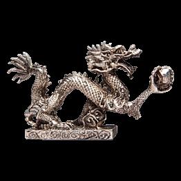 Figurine Dragon argent H  11 cm - L 21 cm - P 4 cm