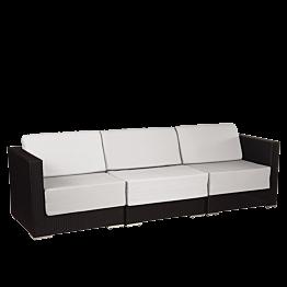 Canapé trois places Lounge tressé gris 240 x 80 x 67 cm