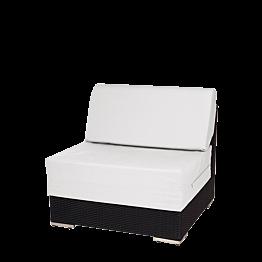 Module central Lounge tressé gris 80 x 80 x 67 cm