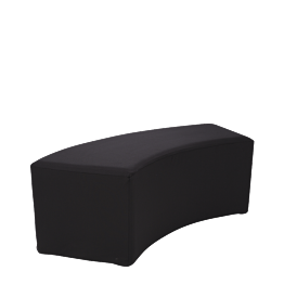 Banquette arrondie vinyle noir 50 x150 H 40 cm