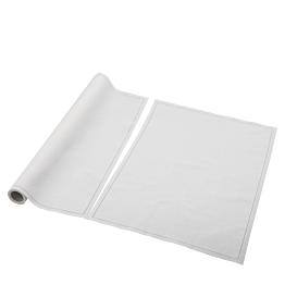 Sets de table/serviettes tissu écru 48 x 32 cm en rouleau (12)