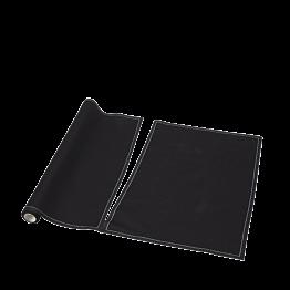 Sets de table/serviettes tissu noir 48 x 32 cm en rouleau (12)