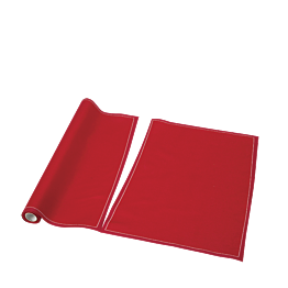Sets de table/serviettes tissu rouge 48 x 32 cm en rouleau (12)