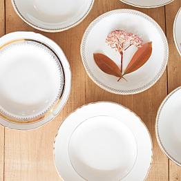 Assiette creuse Vintage blanche et dorée