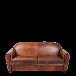 Canapé 2 places Club cuir marron190 x 83 cm H 87 cm