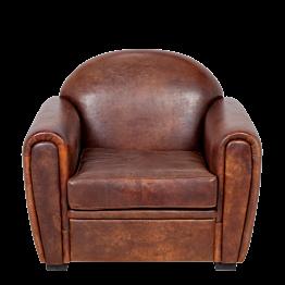 Fauteuil Club cuir marron 100 x 83 cm H 97 cm