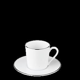 Tasse et sous tasse à café Plane Filet Argent 12 cl