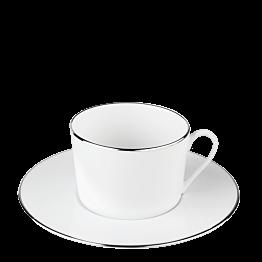 Tasse et sous-tasse à thé Plane filet Argent 22 cl