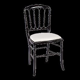 Chaise Napoléon III noire fixe chintz beige