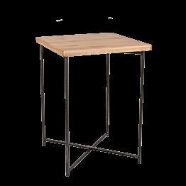 Table haute croisée acier plateau bois 65 x 65 cm H 90 cm