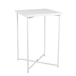 Mange-debout croisé blanc plateau blanc 65 x 65 cm H 100 cm